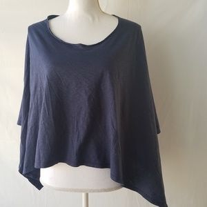 Toggery Asymmetrical Poncho Top Blue One Size NWOT